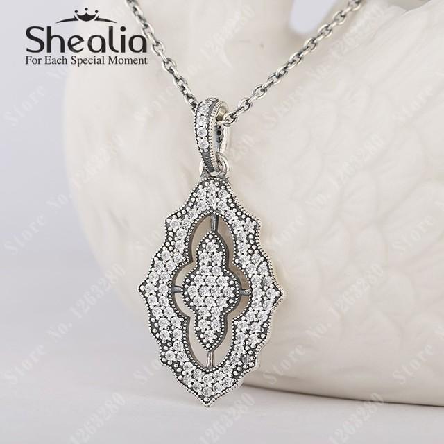 Игристое кружево ожерелья подвески микро-проложить прозрачный CZ кулон 925 чистое серебро Shealia модное ювелирные изделия
