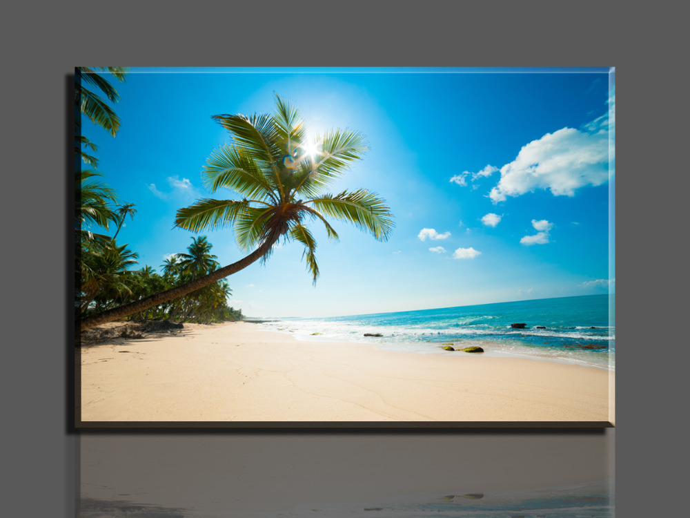 Free shipping 1 piece hot beautiful beaches wall decor oil painting canvas art hd picture print - Latest beautiful wall decoration ...