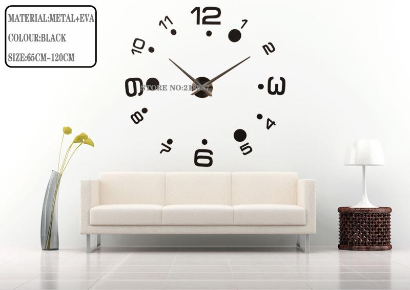 2014 new home decor 3D diy wall clocks modern design stickers watch creative single clock safe unique gift - YIWU E-MOON E-COMMERCE FIRM store