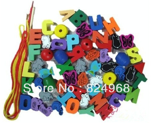 Free shipping garden colored blocks threading beads toys toy wooden beads