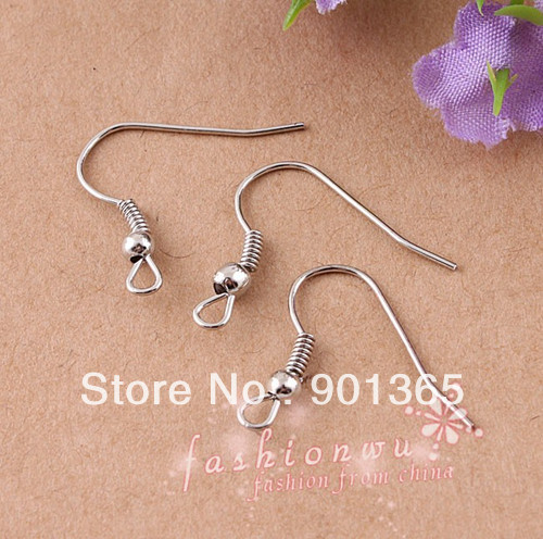 925 plated hook coil ear wire Earrings ,Free Shipping jewerly finding jewellery accessory