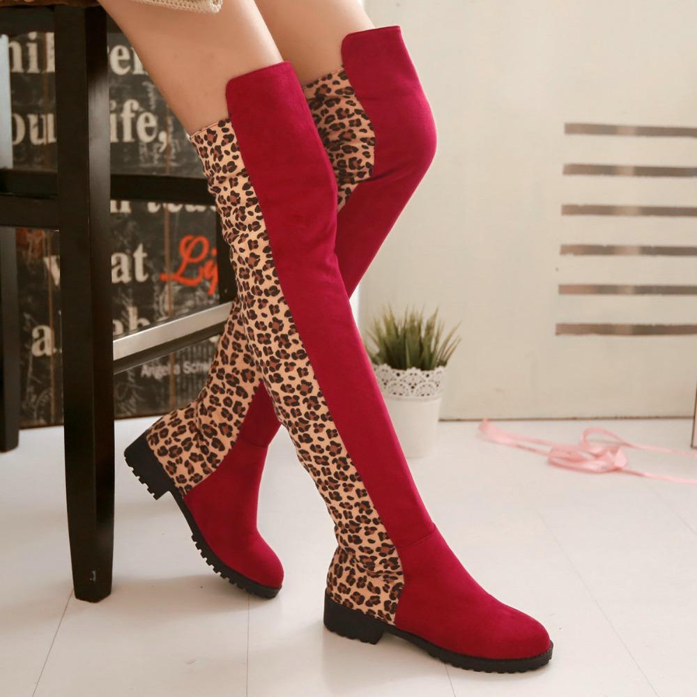 get cheap leopard knee high flat boots aliexpress