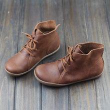 Phụ nữ Mắt Cá Chân Giày Plus Kích Thước Cầm Tay Da Thật Chính Hãng Da Phụ Nữ Giày Mũi Tròn phối ren Giày Nữ Giày Lái Xe giày(China)