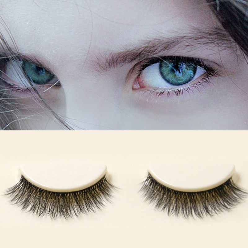 T2N2 3 Pairs Fashion Woman Natural Fiber Long Bushy Handmade False Eyelashes(China (Mainland))