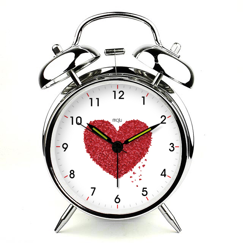 brief modern silent night light little red hearts alarm clock home Control LED display electronic desktop Digital table Clock(China (Mainland))