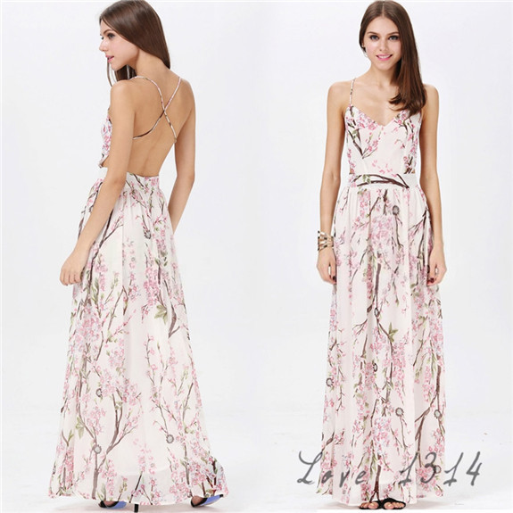 Summer Fashion Women Sexy Clothing Elegant Apricot Spaghetti Strap Backless Floral Print Maxi Casual Gowns Dress Party SV006862(China (Mainland))