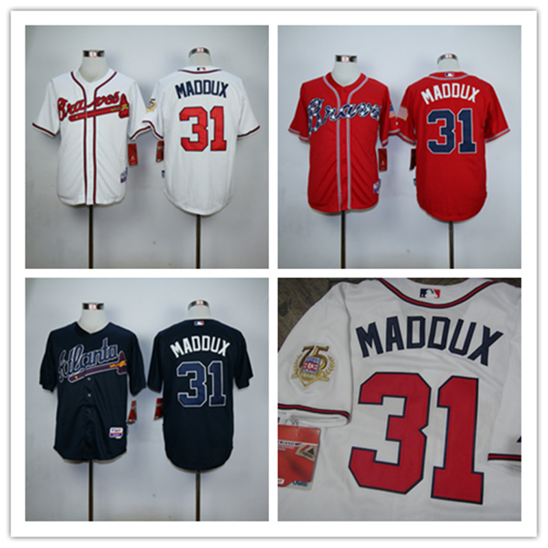 Greg Maddux Jersey White Blue Atlanta Braves 31# Jersey with Hall Of Fame 75th Patch<br><br>Aliexpress