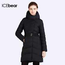 ICEbear 2016 Hooded Collar Bio-Down Long European Quality Zipper Womens Winter Warm Parka Over Coat Women Brand Jacket 16G663(China (Mainland))