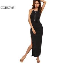 Buy COLROVIE Tight Dress Little Black Dress European Style Women Dress Black Spaghetti Strap Criss Cross Back Split Long Dress for $8.98 in AliExpress store