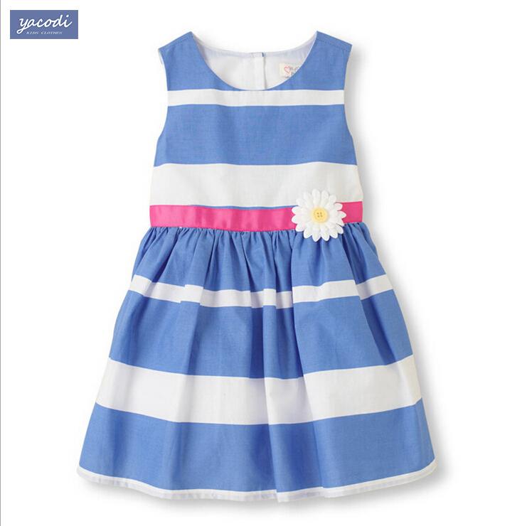 2015 girl dresses striped girl print dress brand children's clothing summer new princess dress for girl baby clothting(China (Mainland))