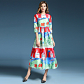 2016 Summer New Fashion Daily Women s Half Sleeve Childlike Crayon Printed New Ball Gown Midi