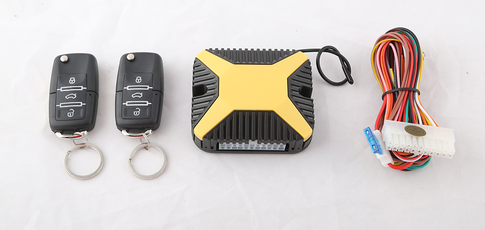 Car keyless entry system with yellow brain, remote lock &amp; unlock, window rise output and car locating, code learning<br><br>Aliexpress