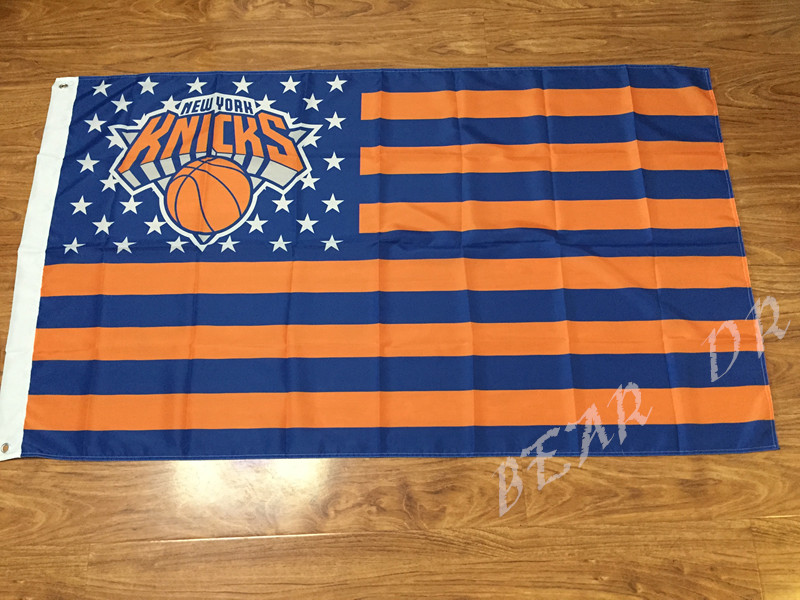 New York Knicks USA star stripe NBA Premium Team basketball Flag 3X5FT sports decorative digital printing free shipping(China (Mainland))
