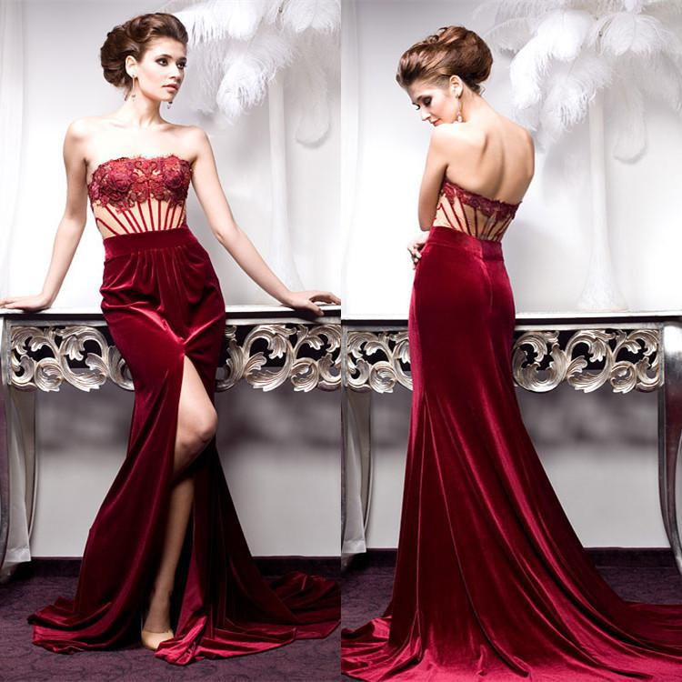 Burgundy Velvet Dress For A Fall Wedding Formal Burgundy Evening Gowns