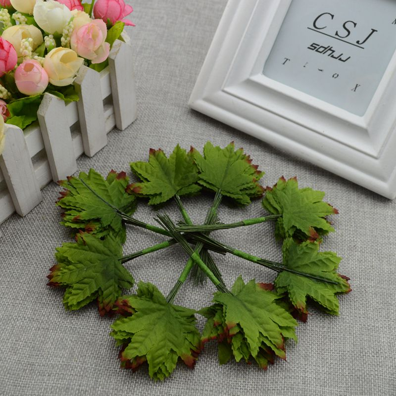 12pcs / lot Artificial Maple simulation nylon wind eucalyptus leaves wedding gift accessories DIY flower collage(China (Mainland))
