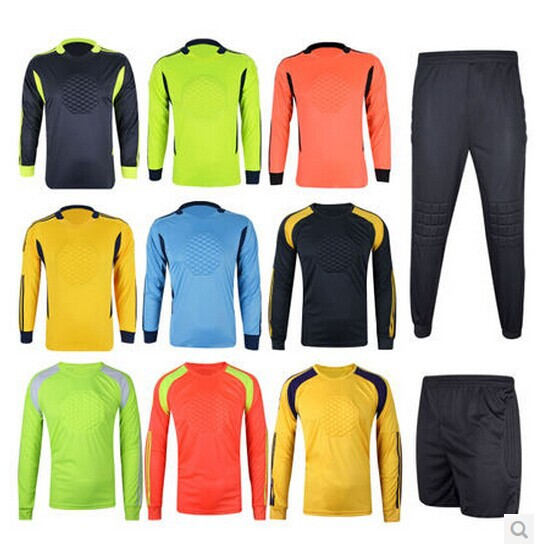 Top Thailand Quality 7 Colors Goalkeeper Soccer Jersey Children's Football Shirt Soccer Uniforms Training Pants Doorkeepers(China (Mainland))
