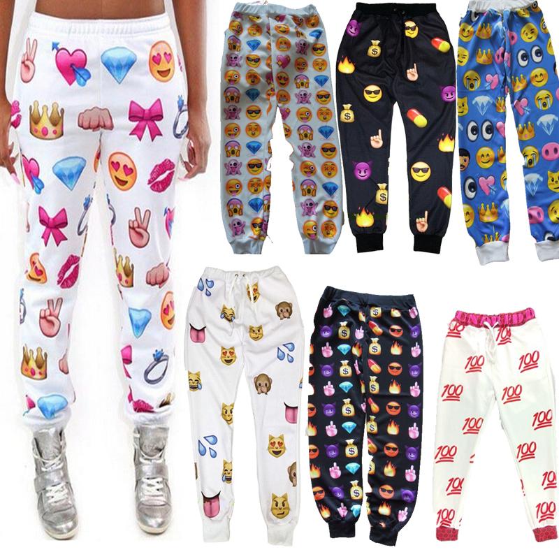 New emoji joggers pants sports style print cartoon women joggers emoji ...