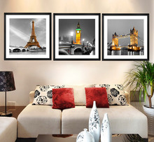 3 Panel Modern Paris Effiel Tower Painting Picture City Building Bridge Landscape Painting Canvas Wall Art HD Painting No Frame(China (Mainland))