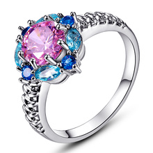 JROSE Flower Cluster Sapphire Jewelry Rings for Women 18K White Gold Wedding Ring set Pink & London Blue Topaz(China (Mainland))