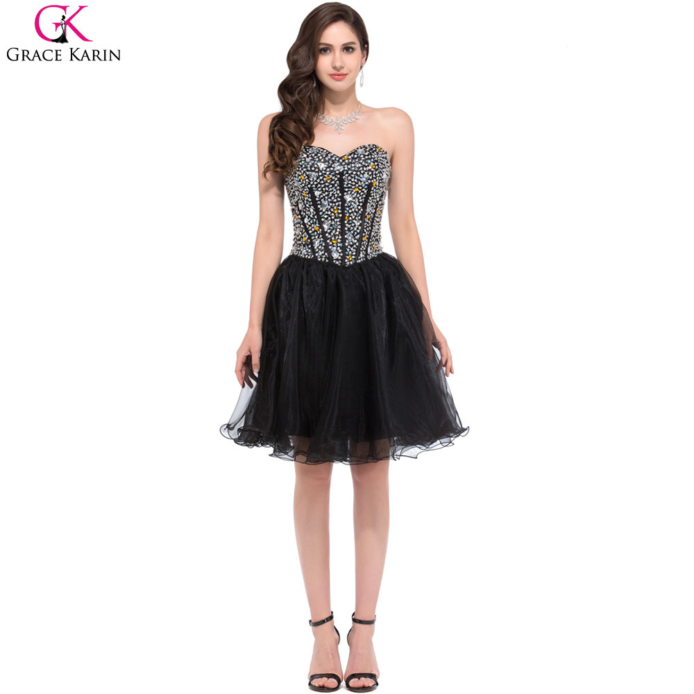 buy grace karin prom dresses sweetheart sequin beaded organza puffy black. Black Bedroom Furniture Sets. Home Design Ideas