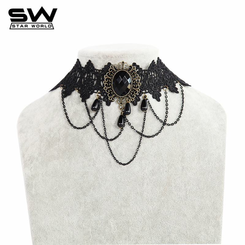 STARWORLD brand jewelry chain necklace women's clothing accessories Vintage pendant choker Style lace necklaces women - starworld official store