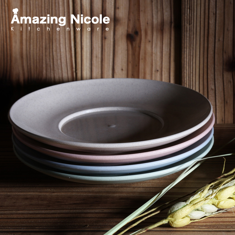 4-Piece Wheat Straw Dinner Plate Eco-friendly Dishes- - Amazing Nicole store