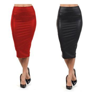 Высокая талия кожа юбка XL XXL XXXL черный красный сексуальные юбки карандаш средней ...