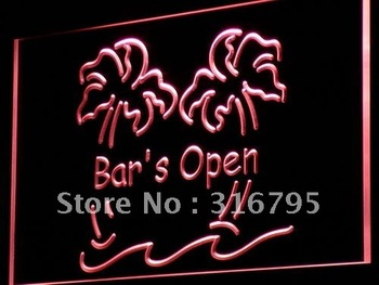 i814-r Bar is Open Palm Tree Pub Beer LED Neon Light Sign