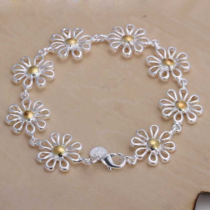 Hot Sale!!Free Shipping silver plated Bracelets & Bangles silver plated Fashion Jewelry,Separations daisy Bracelet SMTH069(China (Mainland))