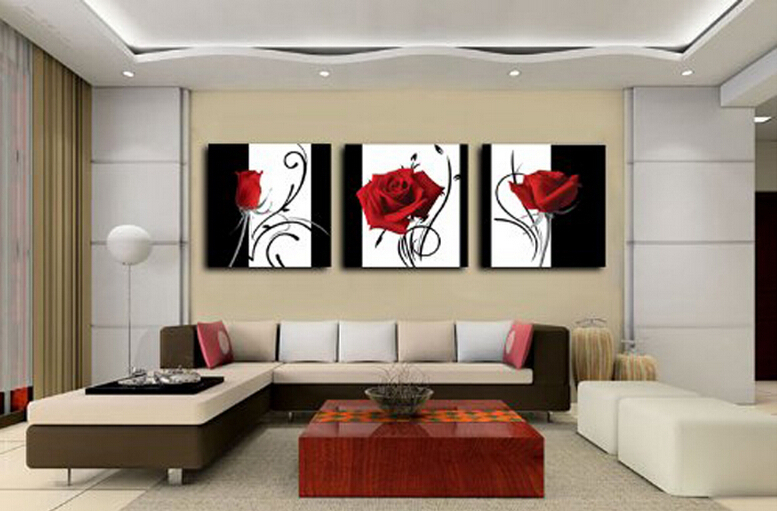 3 Panel Red Rose Home Decorative Canvas Painting Living Room Wall Art Set On