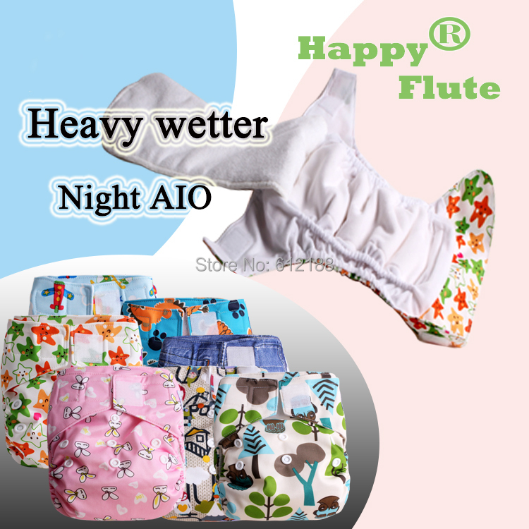 Happy Flute 1 pcs heavy wetter night AIO AI2 baby cloth diaper nappy one size fit