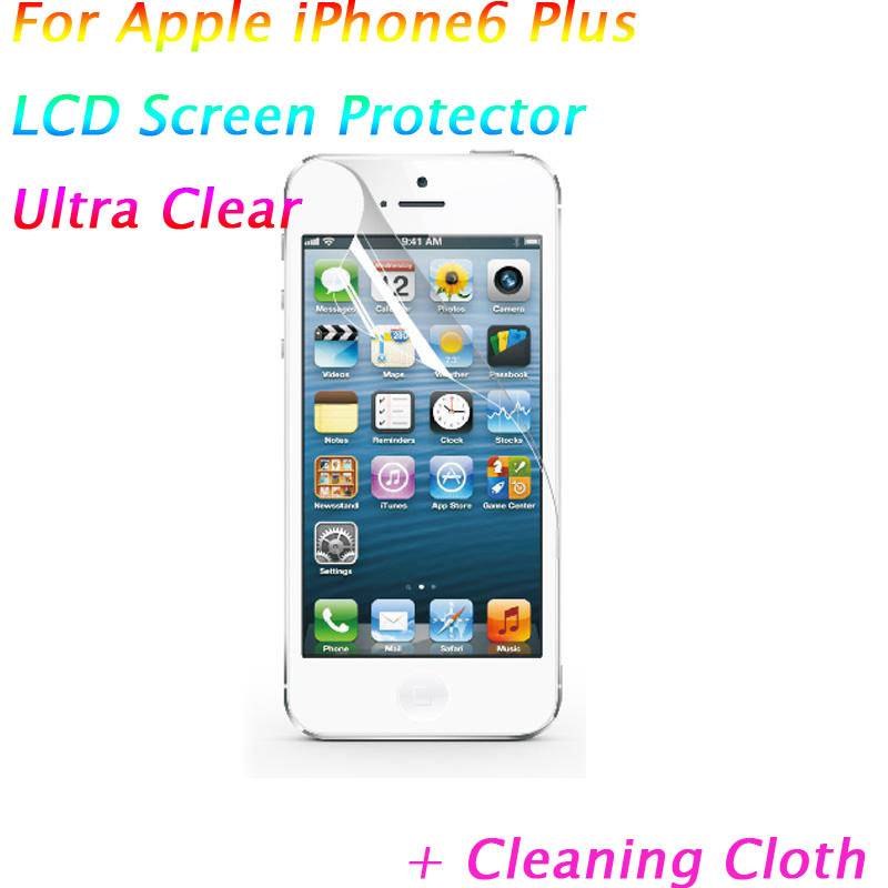 2014 5.5 inch Clear LCD Screen Protector Cover Apple iPhone6 Plus protective Film Guard cleaning cloth film phone 1 - GreenCat Electronics Co., Ltd. store