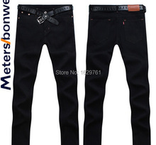 Classic 2015 High Quality Famous Brand Men Jeans Cotton Denim Jeans Casual Straight Washed Pants Black Fashion Jeans Size:28~38(China (Mainland))