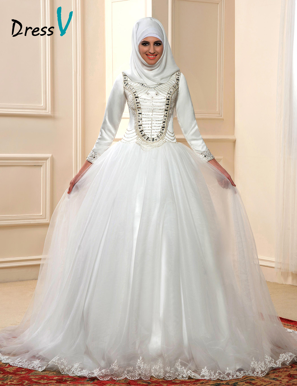 2016 luxury muslim ball gown wedding dresses with long for Luxury ball gown wedding dresses