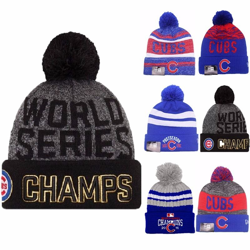 2016 World Series Champs Championship Chicago Cubs New Era Knit Hat Beanie Nice Hat For Adult Kids(China (Mainland))