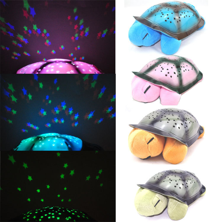 4Pcs/Lot Tortoise Shadow Lamp With Music Sleep Starry Sky Lamp Creative Baby Valentines Gift Dolls Stuffed  Plush Toys