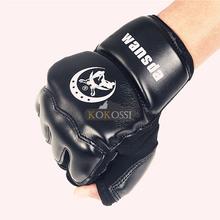 Couro Meio Dedo Luta luvas de Boxe Luvas Mitts Karate Saco De Areia Taekwondo Protetor Para Boxeo MMA Muay Thai Kick luva Formação