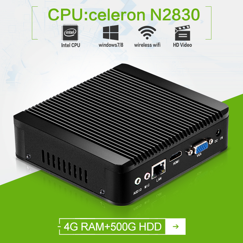Hot on sale! ultra-small thin client N2830 2.16ghz 4g RAM 500g HDD HDMI+VGA support video and commercial htpc tv box office pc(China (Mainland))