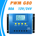 Y SOLAR 80A Solar Controller 12V 24V G80 Backlight LCD Display PWM Solar Panel Regulator with