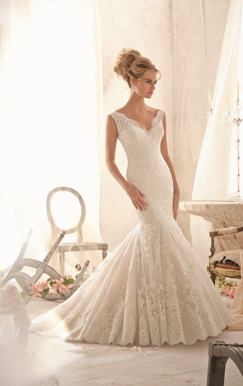 55newest simple design v neck ivory lace mermaid wedding for Mermaid v neck wedding dress