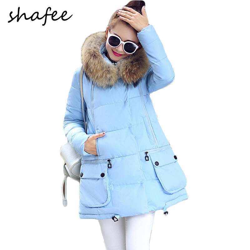 Plus Size New 2015 Winter Jacket Women Long Thick Warm Parka Large Fur Collar Hood Cotton padded coat Female 8 colors - Shafee Group store