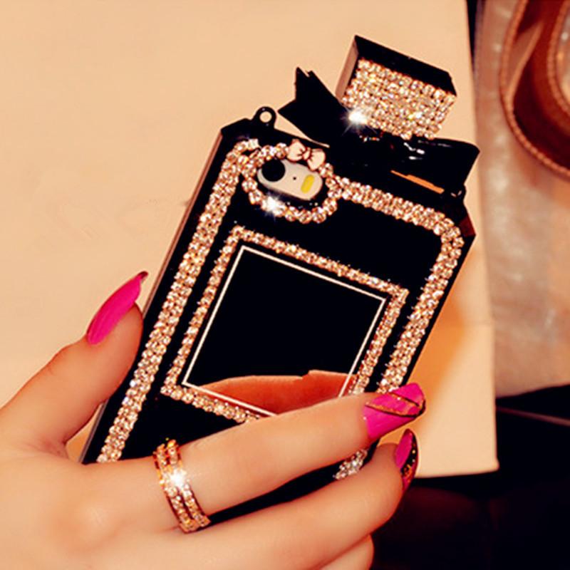 Luxury Bling Rhinestone Diamond Perfume Bottle Case for Samsung Galaxy S4 S5 S6 S7 S7 Edge Plus TPU Cover Handbag with Chain(China (Mainland))