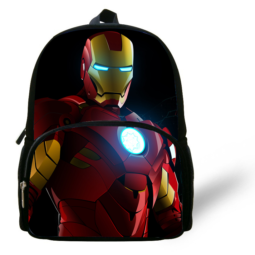 Cool 12-inch Kids School Bags For Boys 2014 Cool Iron Man Backpack Children Bag Backpack Kindergarten Mochila Escolar Menino(China (Mainland))