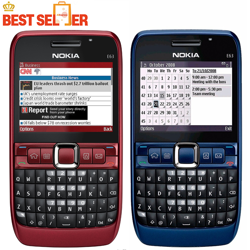 Original phone E63 QWERTY Keyboard Mobile Phone Bluetooth Wifi FM nokia E63 Cell Phone Free Shipping(China (Mainland))