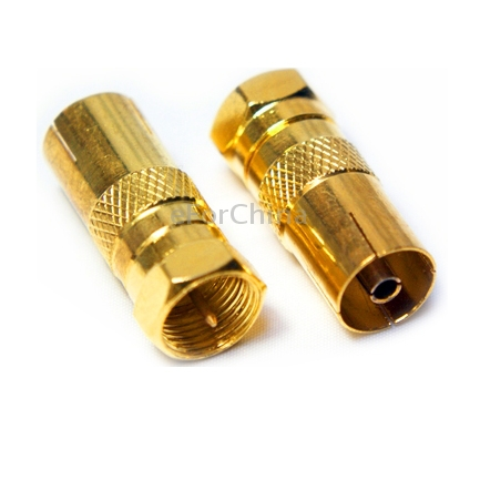 F Male to TV Female Antenna Connector Adaptor, Gold Plated(China (Mainland))
