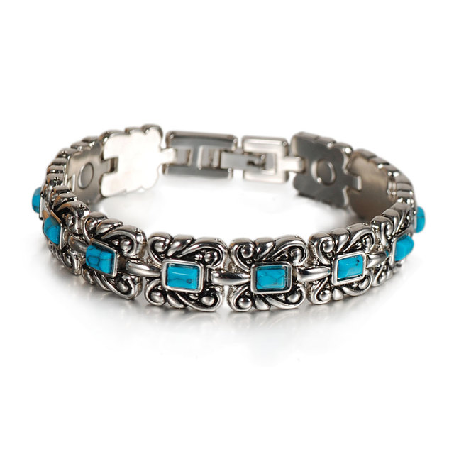Wollet Jewelry Birthday Gift for Girlfriend Wife Mom Health Energy Turquoise Magnetic Bracelet For Women Tibetan Silver Color