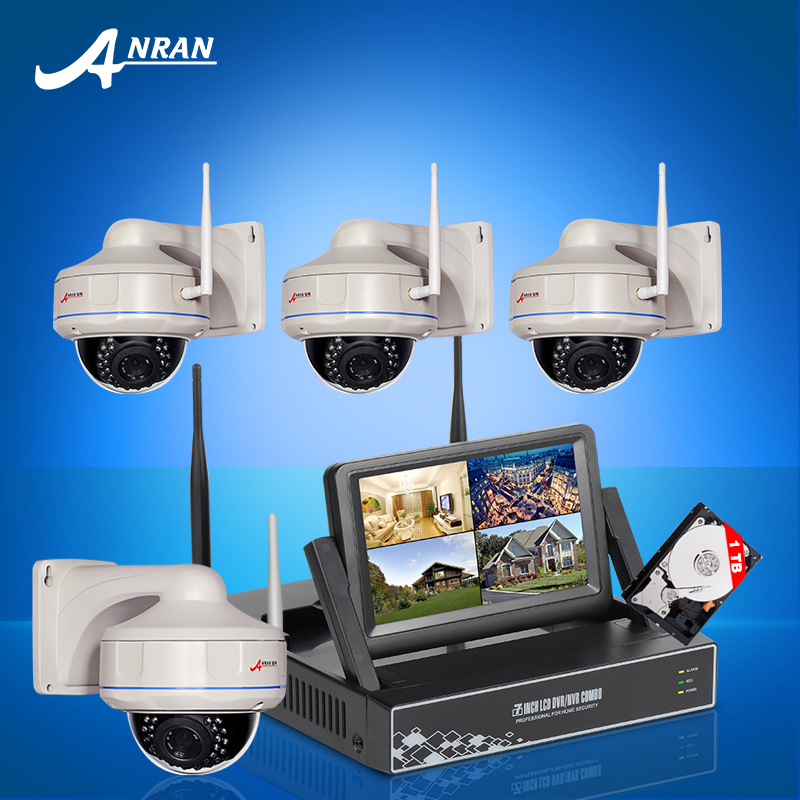ANRAN 2016 New 4CH Wireless NVR Kit 7 Inch Screen 1TB HDD 720P HD Fixed Dome IP Camera Wifi Video Surveillance CCTV System(China (Mainland))