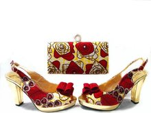 New design RED Square high heel african italian shoes and matching bags for women wedding party evening dress, JA109-2(China (Mainland))