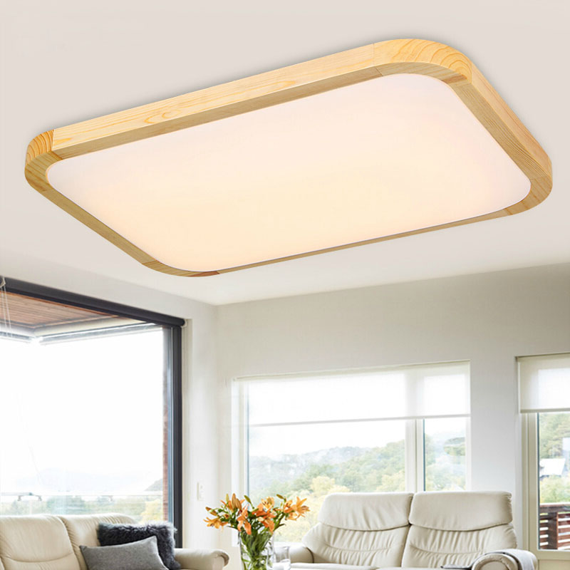 buy square oak living room bedroom modern led ceiling lights deckenleuchten. Black Bedroom Furniture Sets. Home Design Ideas