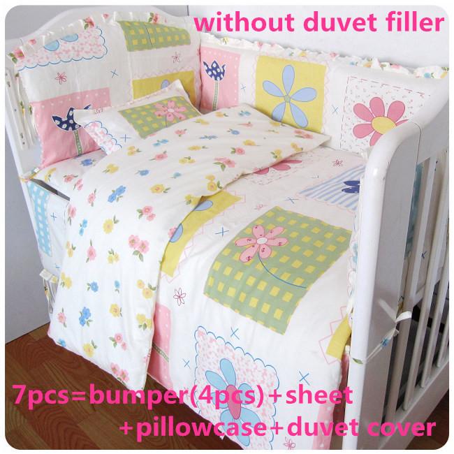 Promotion! 6/7PCS Baby Bedding Set Cartoon Pattern Crib Bedding Set 100% Cotton ,duvet cover , 120*60/120*70cm<br><br>Aliexpress
